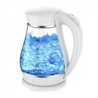 Electric kettle Adler Kettle AD 1274 Standard, Plastic, glass, White/ transparent, 2200 W, 360° rotational base, 1.7 L