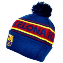 F.C. Barcelona žieminė kepurė su bumbulu ir tekstu (Mėlyna)