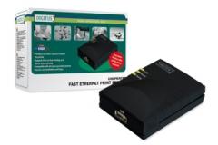 Fast Ethernet Print Server Digitus USB, 1 portas Printeru piederumi