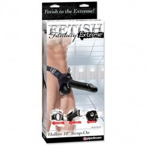 FF Extreme 25 cm tuščiaviduris strap-on / Juodas Vyriški Strap- on