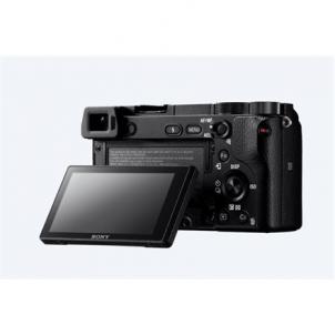 "Fotoaparatas Sony ILCE6300B.CEC Mirrorless Camera Kit, 24.2 MP, ISO 51200, Display diagonal 3.0 "", Video recording, Wi-Fi, Magnification 1.07 x, CMOS, Black, Image stabilization supplied by lens Skaitmeniniai veidrodiniai fotoaparatai"