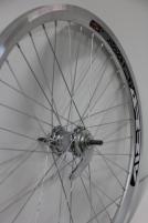 Galinis ratas 28 Velosteel single speed įvorė, DoubleWall silver ratlankis 30mm Bicycle wheels, tires and their details