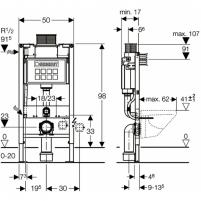 Geberit Duofix potinkinis rėmas unitazui, 98/82cm Potinkinės sistemos