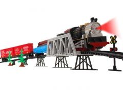 Geležinkelis su traukinio vagonais