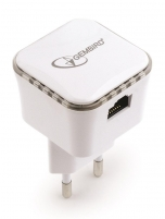 Gembird WiFi repeater, 300 Mbps + LAN, white