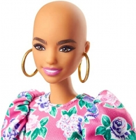 GHW64 Barbie Fashionistas Doll with No-Hair Look Wearing Pink Floral Dress MATTEL