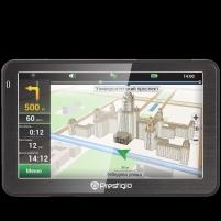 GPS navigacija Prestigio GeoVision 5058 (5.0, TFT, 480х272, Win CE 6.0, CPU 800 MHz, 128 MB RAM, 4 GB, 16 GB microSD, FM, 950 mAh, Black, Metal frame, Navitel, preinstalled maps of Full Europe) Free Lifetime Map update GPS navigacinė technika