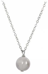 Grandinėlė JwL Luxury Pearls Right pearl gray on a silver chain JL0089 Burst