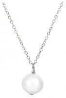 Grandinėlė JwL Luxury Pearls Right pearl white paint on a silver chain JL0087 Neck jewelry