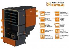 Granulinis katilas 100 kW, komplekte su 100 kW Zenono degikliu, 800 l bunkeriu