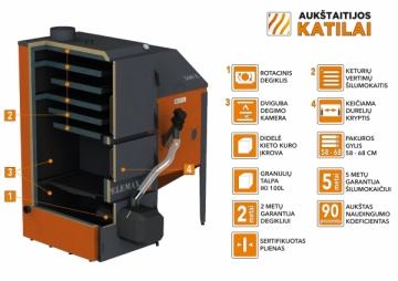 Granulinis katilas 15-70 kW, komplekte su rotaciniu 70 kW degikliu, 700 l bunkeriu Pellet boilers