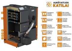 Granulinis katilas 36 kW komplekte su rotac. 36 kW degikliu, sraigtu, 800 l metaliniu bunkeriu