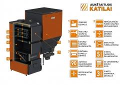 Granulinis katilas 40 kW, komplekte su 40 kWZenono degikliu, 400 l bunkeriu