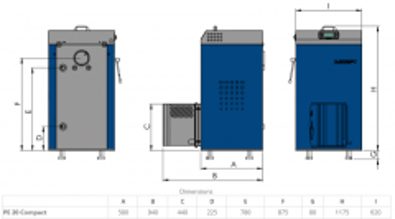 Granulinis katilas Elektromet EKO PE COMPACT 20/310 (galia 18kW, talpa granulėms 310 l) Pellet boilers