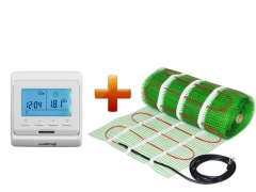 Grindinio šildymo tinklelio ir programuojamo termostato WELLMO MAT rinkinys 12m2