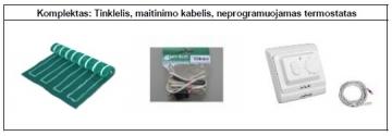 Grindų šildymo tinklelio PVMR.060100 komplektas su mechaniniu termostatu
