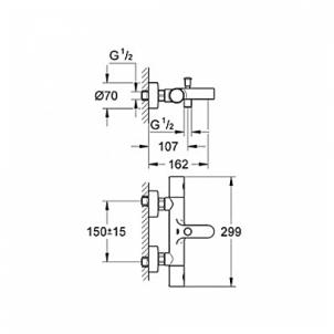 Grohe Groheteherm 1000 Cosmo vonios termostatas Maišytuvai praustuvams