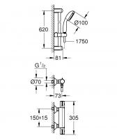 Grohtherm 800 termostatinis maišytuvas dušui su dušo komplektu New Tempesta, 600 mm