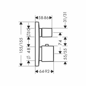 Hansgrohe termostatinis maišytuvas dušui PuraVida 2 išėjimai