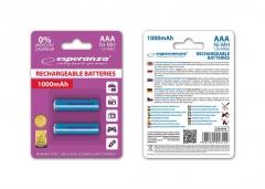 Įkraunama baterija ESPERANZA EZA101B - Ni-MH AAA 1000MAH 2PCS. Baterijos, elementai, įkrovikliai