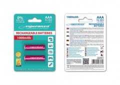 Įkraunama baterija ESPERANZA EZA101R - Ni-MH AAA 1000MAH 2PCS. Baterijos, elementai, įkrovikliai
