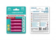 Įkraunama baterija ESPERANZA EZA104R - Ni-MH AA 2000MAH x4 Baterijos, elementai, įkrovikliai