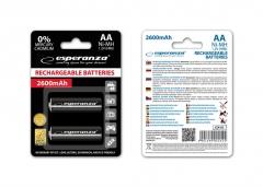 Įkraunama baterija ESPERANZA EZA105 - Ni-MH AA 2600MAH x2 Baterijos, elementai, įkrovikliai