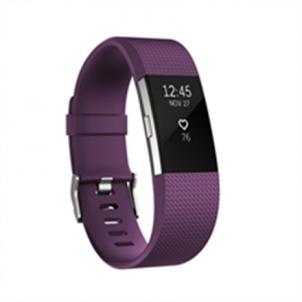 Išmanioji apyrankė Fitbit Flex Fitness Tracker Charge 2 Plum Silver - Large FB407SPML-EU OLED, Plum Silver, Bluetooth, Built-in pedometer, Heart rate monitor, Waterproof, GPS (satellite) Išmanieji laikrodžiai ir apyrankės