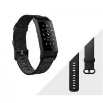 Išmanusis laikrodis Fitbit Charge 4 Fitness tracker, GPS (satellite), OLED, Touchscreen, Heart rate monitor, Activity monitoring 24/7, Waterproof, Bluetooth, Granite Reflective Woven/Black Спортивные часы
