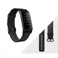 Išmanusis laikrodis Fitbit Charge 4 Fitness tracker, GPS (satellite), OLED, Touchscreen, Heart rate monitor, Activity monitoring 24/7, Waterproof, Bluetooth, Granite Reflective Woven/Black Sporta pulksteņi