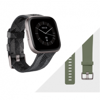 Išmanusis laikrodis Fitbit Versa 2 Smart watch, NFC, OLED, Touchscreen, Heart rate monitor, Activity monitoring 24/7, Waterproof, Bluetooth, Wi-Fi, Smoke Woven Band/Mist Grey Aluminum Case Išmanieji laikrodžiai ir apyrankės