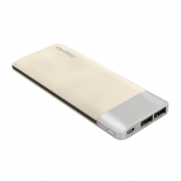 Išorinė baterija Power Bank Qoltec 10000mAh | Li-poly | Gold | 2 x USB 2.1A