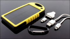 Power Bank su saulės baterija PowerNeed 1.2W 5000mAh, yellow