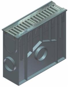 Įtekėjimo dėžė su nešvarumų indu, cinkuoto plieno juostinėmis grotelėmis SW 75/9 Virszemes ūdeņu savākšanas
