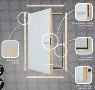 Itin geros termoizoliacijos karnizinės durys DWT 70x90 cm. Karnizinės durys
