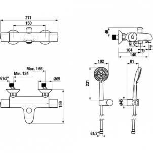 JIKA Olymp Deep termostatinis dušo/vonios maišytuvas su dušo kom