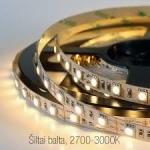 Juosta LED 4,8W, IP20, 3000K, šilta balta, 60LED-360lm/m, 24W/5m, SMD3528, 50000h, 4101 Šviesos diodų (LED) lempos