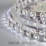 Juosta LED 4,8W, IP65, 6400K, šalta balta, 60LED-360lm/m, 24W/5m, SMD3528, 30000h 4202 Light-emitting diode (led) lamps