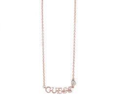 Kaklo papuošalas Guess Pink gold plated necklace with the inscription UBN61088