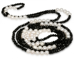 neck jewelry JwL Luxury Pearls Long necklace of real pearls and black crystals JL0191