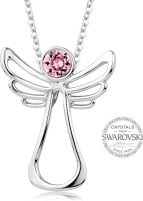 neck jewelry Levien Guardian Angel Pink Crystal Necklace Neck jewelry