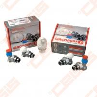 Kampinis komplektas: termostatinis ventilis, balansinis ventilis ir termostatinė galva radiatoriui pajungti 1/2