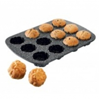 Kepimo forma Stoneline Cupcake baking tin 8037 Non-stick coating, Black
