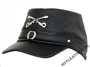 Kepurė Konfederacijos su kardais, juoda oda Galvos apdangalai