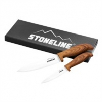 Keramikiniai peiliai Stoneline Ceramic knifes 18334 Total length approx. 21 cm and 27 cm with blade protection, Material Ceramic, plastic, 2 pc(s), White/ wooden Keramikiniai peiliai