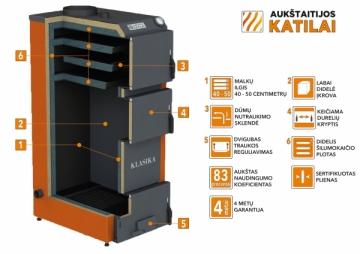Kieto kuro katilas KLASIKA, viršutinio degimo, 30kW A traditional solid fuel boilers