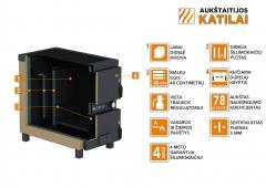 Kieto kuro katilas-viryklė, AKT Ignis D, 15 kW Kieto kuro tradiciniai katilai