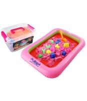 Kinetinis smėlis 1 kg smėlio dėžėje + 8 formelių l20081 Lavinimo žaislai