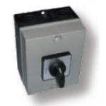 Kirtiklis dėžutėje, 3P, 32A, 0-1, IP65, su pasukama rankenėle, pilka-juoda, ELK, ETI 04772285