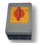Kirtiklis dėžutėje, 3P, 32A, 0-1-0, IP65, su pasukama rankenėle, pilka-juoda, ELK, ETI 04772291